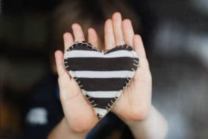 black and white cloth heart