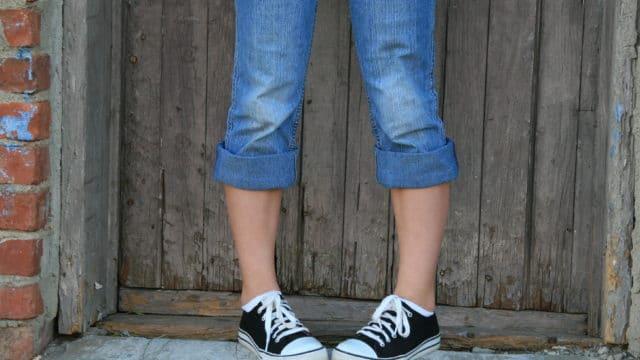 teenager in sneakers