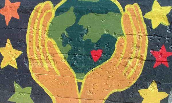 graffiti earth mural