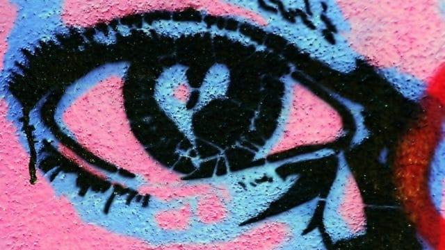 graffiti with eye and teardrop