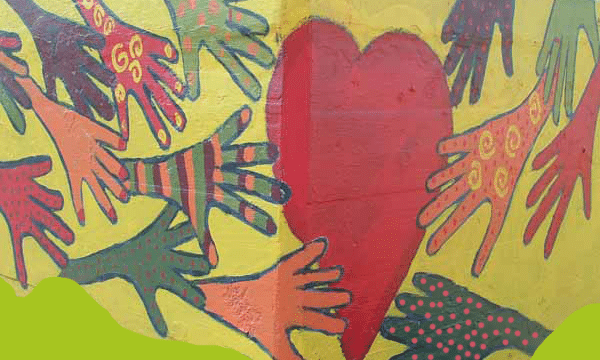 graffiti hands and heart