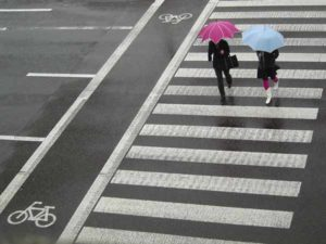 women walking in the rain